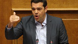 Le Premier ministre grec, Alexis Tsipras, s'adresse à l'Assemblée nationale à Athènes, le 14 août 2015. (AYHAN MEHMET / ANADOLU AGENCY/AFP)