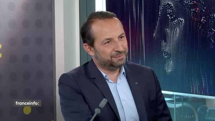 Sébastien Chenu, porte-parole du Rassemblement national et député du Nord sur franceinfo mardi 8 septembre. (RADIO FRANCE)
