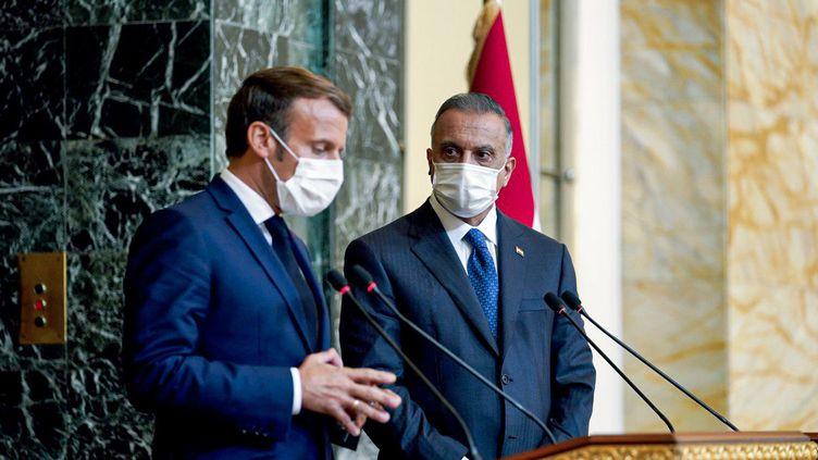 Emmanuel Macron et le Premier ministre irakien, Munstafa Kadhemi, à Bagdad, le 2 septembre 2020. (- / IRAQI PRIME MINISTER'S PRESS OFF)