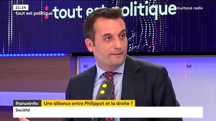 """Florian Philippot, président des Patriotes et ancien vice-président du Front national, était l'invité de """"Tout est politique"""", jeudi sur franceinfo. (FRANCEINFO)"""