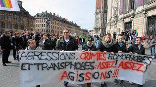 Lors d'une manifestation contre l'homophobie, à Lille le 15 mars 2014. (MAXPPP)