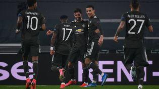 Bruno Fernandes célèbre un but avec Manchester United (MARCO BERTORELLO / AFP)