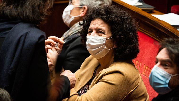 La ministre de l'Enseignement supérieur, Frédérique Vidal, lors d'une séance de questions au gouvernement à l'Assemblée nationale, le 9 février 2021 à Paris. (XOSE BOUZAS / HANS LUCAS)