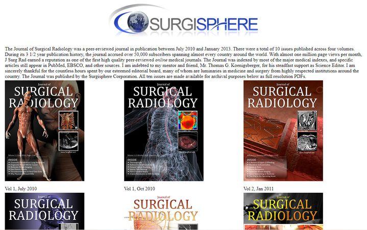 Capture d'écran de la page du site de Surgisphere présentant ses anciennes revues médicales, le 5 juin 2020 (SURGISPHERE)