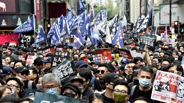 Des milliers de manifestants, le 1er janvier 2020, à Hong Kong. (SHIOMI KADOYA / YOMIURI / AFP)