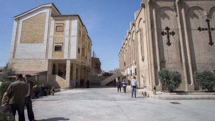 L'Eglise assyrienne d'al-Hasaka, ville où des Assyriens ont été enlevés par le groupe Etat islamique, le 9 mars 2015. (REUTERS/Rodi Said)