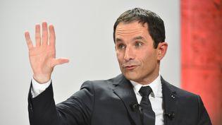 Le candidat socialiste à la présidentielle, Benoît Hamon, le 21 janvier 2017 à Blois (Loir-et-Cher). (JEAN-FRANCOIS MONIER / AFP)