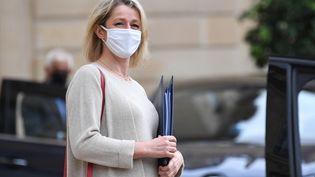 La ministre de la Transition écologique Barbara Pompili après un Conseil des ministres, le 28 juillet 2021 à l'Elysée. (BERTRAND GUAY / AFP)