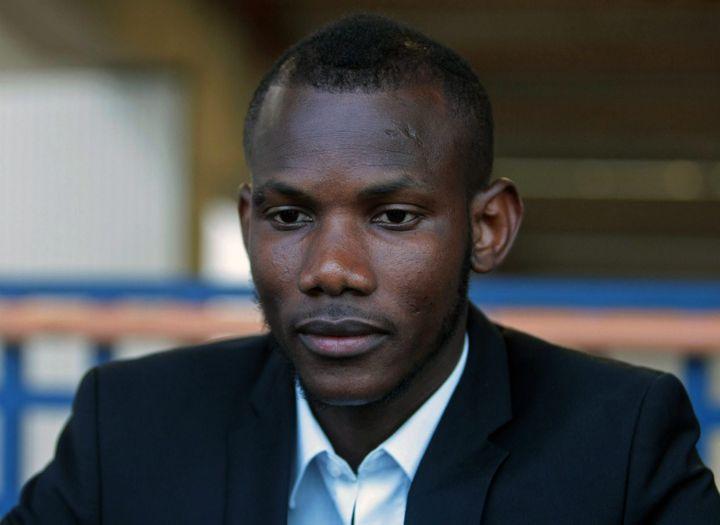 Lassana Bathily est invité au congrès de la Ligue des droits de l'homme, le 20 mai 2015 au Mans (Sarthe). (MAXPPP)