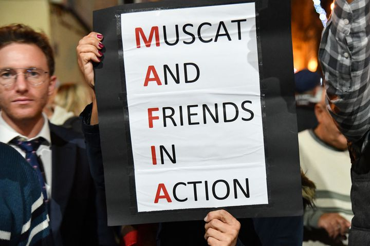 Lors des manifestations à Malte, le 3 décembre 2019. (ANDREAS SOLARO / AFP)