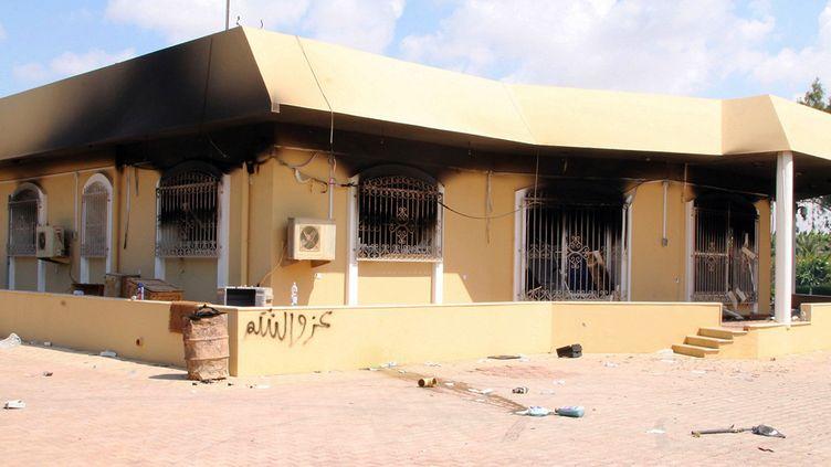 Un bâtiment appartenant au consulat américain de Benghazi (Libye), le 12 septembre 2012, au lendemain de l'attaque qui a fait quatre victimes. ( AFP)