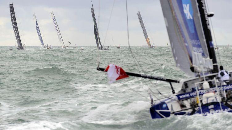 Dix-neuf skippers, dont 11 Français, ont quitté les Sables-d'Olonne pour le 7e Vendée Globe, un tour du monde en solitaire et sans escale qualifié d'Everest de la mer. (JEAN-SEBASTIEN EVRARD / AFP)