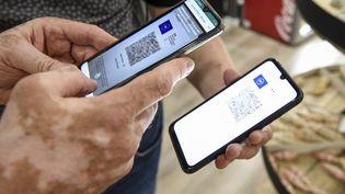 Une personne utilise une application de vérification des passeports sur un smartphone pour vérifier un passeport sanitaire affiché sur un smartphone à Amneville, dans l'est de la France. (JEAN-CHRISTOPHE VERHAEGEN / AFP)