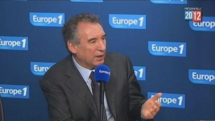 François Bayrou, candidat du MoDem à la présidentielle, le 14 février 2012 sur Europe 1. (FTVI / EUROPE 1)