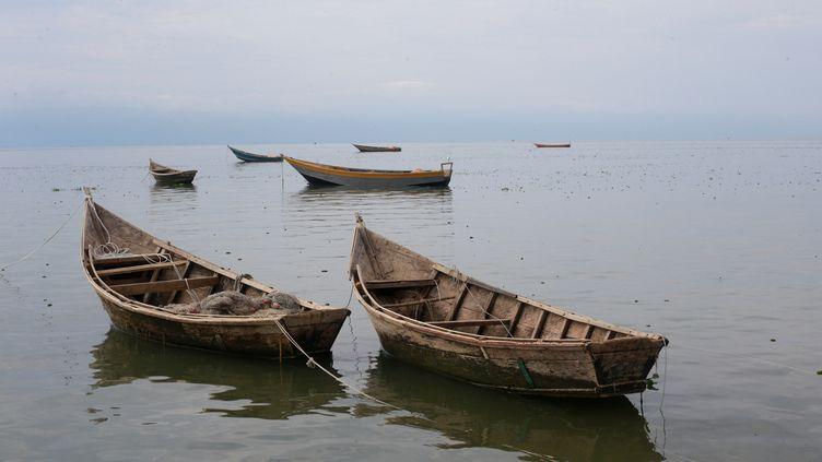 Des bâteaux sur le lac Albert en Ouganda, le 19 mars 2018. (JAMES AKENA / REUTERS)