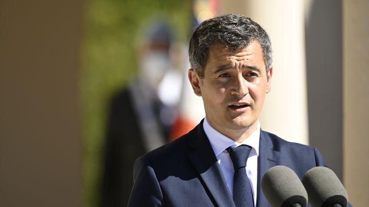 Le ministre de l'Intérieur, Gérald Darmanin, lors d'une cérémonie de commémoration de la Première Guerre mondiale, le 29 juillet 2020. (JEAN-CHRISTOPHE VERHAEGEN / AFP)