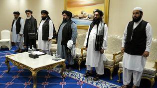 La délégation taliban à Doha (Qatar) pour le second round de négociations, le 21 novembre 2020 (PATRICK SEMANSKY / POOL)