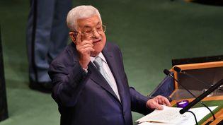 Mahmoud Abbas, le 27 septembre 2018, à New York. (THAER GHANAIM / PALESTINIAN PRES / ANADOLU AGENCY / AFP)