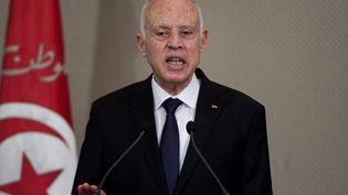 Le préisident tunisienKaïs Saïed, le 2 septembre 2020 à Tunis. (FETHI BELAID / AFP)