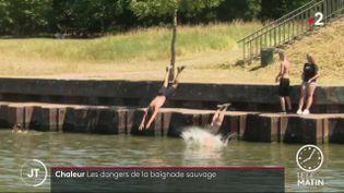 Des jeunes plongeant dans laDeûle. (France 2)