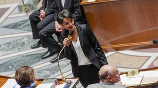 La ministre de l'Education, Najat Vallaud-Belkacem, le 19 mai 2015 à l'Assemblée nationale. (AURÉLIEN MORISSARD / CITIZENSIDE.COM / AFP)