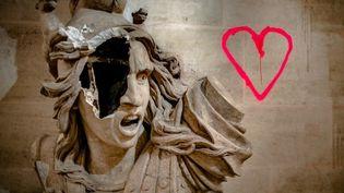 Marianne défigurée à l'Arc de Triomphe  (Simon Guillemin / Hans Lucas)