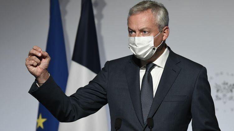 Le ministre de l'Economie et des Finances, Bruno Le Maire, lors d'une conférence de presse à Paris, le 28 septembre 2020. (BERTRAND GUAY / AFP)