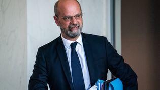 Jean-Michel Blanquer quitte le palais de l'Elysée, à Paris, le 8 septembre 2021. (XOSE BOUZAS / HANS LUCAS / AFP)