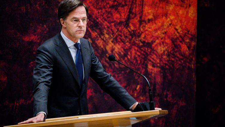 Le Premier Ministre des Pays-Bas Mark Rutte de le Parlement à la Haye le 2 avril 2021. (BART MAAT / ANP / AFP)