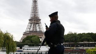 Un agent patrouille à Paris, le 13 juillet 2017. (GEOFFROY VAN DER HASSELT / AFP)
