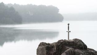 L'épée Excalibur, représentée dans la roche aux abords du lac de Trémelin, dans la forêt de Brocéliande (Ille-et-Vilaine), le 31 août 2016. (BERTHIER EMMANUEL / HEMIS.FR / HEMIS.FR / AFP)