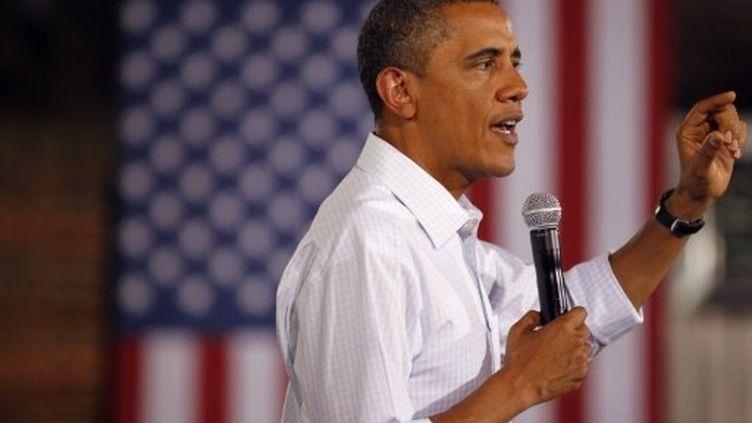 Le Président Barack Obama prononce un discours à Atkinson (Illinois), le 17 août 2011. (AFP - Joe Raedle / GETTY IMAGES)