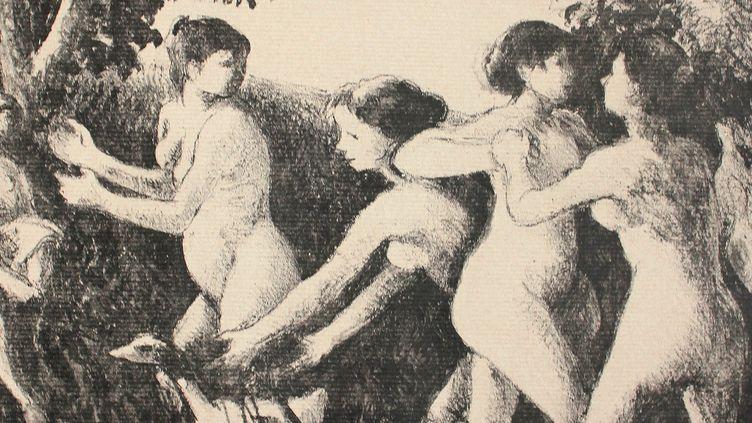 """""""Baigneuses luttant"""" de Camille Pissarro, 1894, lithographie  (Musée Camille Pissarro, Pontoise  )"""