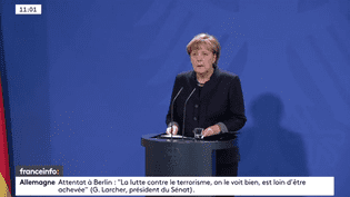 Angela Merkel tient une conférence de presse après l'attaque au camion à Berlin, le 20 décembre 2016. (FRANCEINFO)