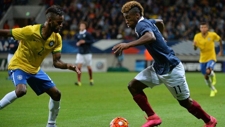 Kingsley Coman face au Brésilien Maicon  (JEAN-FRANCOIS MONIER / AFP)