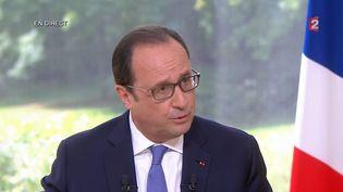 François Hollande lors de son interview du 14-Juillet sur France 2, le 14 juillet2015. ( FRANCE 2)