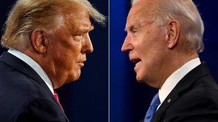 Combinaison de photos de Donald Trump et de Joe Biden lors du dernier débat présidentiel à l'université Belmont à Nashville, Tennessee (Etats-Unis), le 22 octobre 2020. (MORRY GASH / AFP)