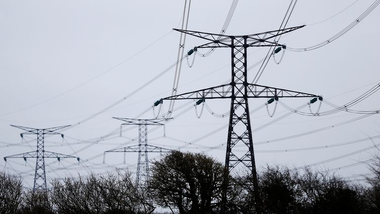 Des piliers électriques près de l'EPR de Flamanville (Manche) le 15 mars 2018. (CHARLY TRIBALLEAU / AFP)