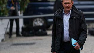 Le secrétaire général de l'Unsa, Laurent Escure,le 19 décembre 2019 à l'Hôtel Matignon. (MARTIN BUREAU / AFP)