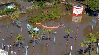 Les inondations ont rempli les bassins du parc animalier Marineland (Antibes) d'eau boueuse. (MAXPPP)