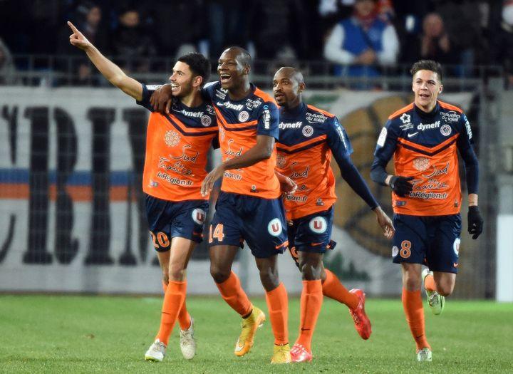 Les joueurs de Montpellier fêtent leur victoire contre Nantes (4-0), le 24 janvier 2015. (PASCAL GUYOT / AFP)
