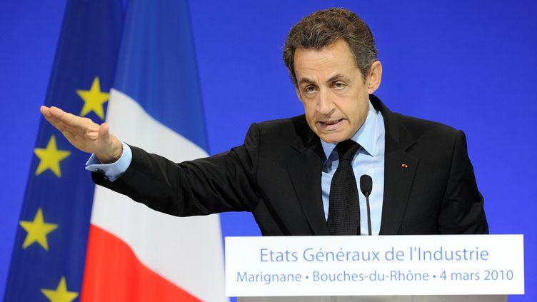 Nicolas Sarkozy, à Marignane (Bouches-du-Rhône), le 4 mars 2010. (GERARD JULIEN / AFP)