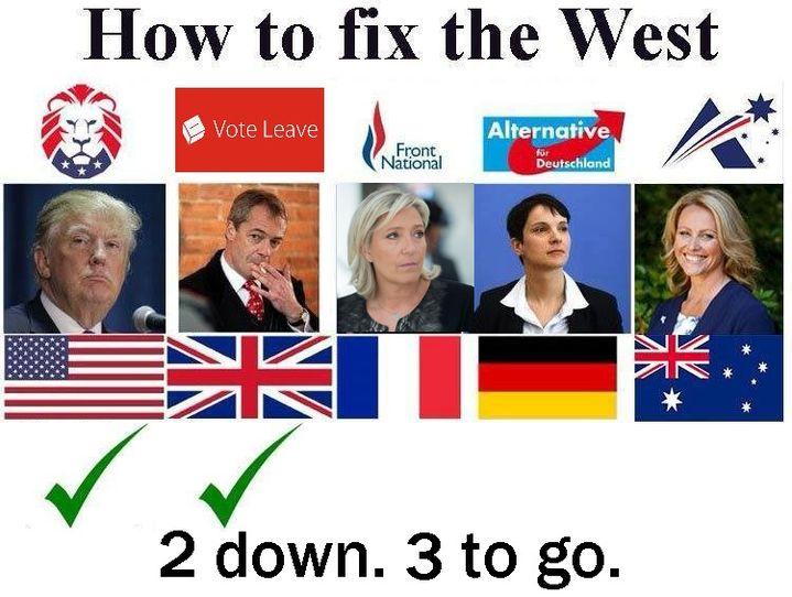 """Montage publié sur le """"subreddit"""" des supporters de Donald Trump appelant à """"réparer l'Occident"""" en faisant élire Marine Le Pen. (/R/THE_DONALD)"""