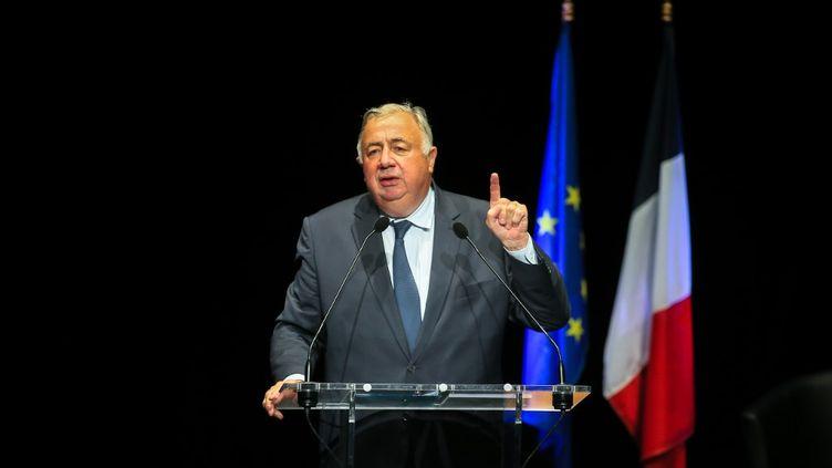 Gérard Larcher, président du Sénat, lors d'un meeting à Montélimar (Drôme), le 14 septembre 2020. (NICOLAS GUYONNET / HANS LUCAS / AFP)