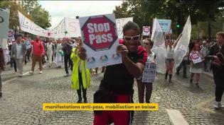 Des manifestants contre le pass sanitaure samedi 28 août (FRANCEINFO)