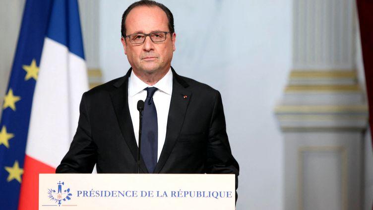 Allocution de François Hollande le 13 novembre 2015 depuis l'Elysée. (CHRISTELLE ALIX / PRESIDENCE DE LA REPUBLIQUE)