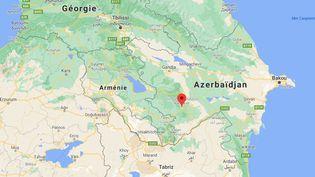 La région spératiste duNagorny Karabakh se situe entre l'Azerbaïdjan et l'Arménie. (GOOGLE MAPS / FRANCEINFO)
