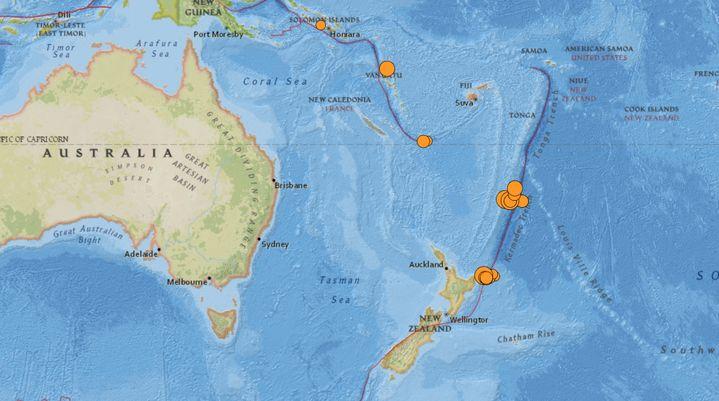 Un séisme a été repéré au large de la Nouvelle-Zélande, le 5 mars 2021. (USGS)