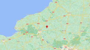 Capture d'écran de Googlemaps pointant Rebets (Seine-Maritime) où un poney a été retrouvé mort dans un pré, le 25 septembre 2020. (FRANCEINFO)
