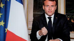 Le Président Emmanuel Macron lors d'une allocution télévisée à l'Elysée, le 16 avril 2019 (LUDOVIC MARIN / AFP)